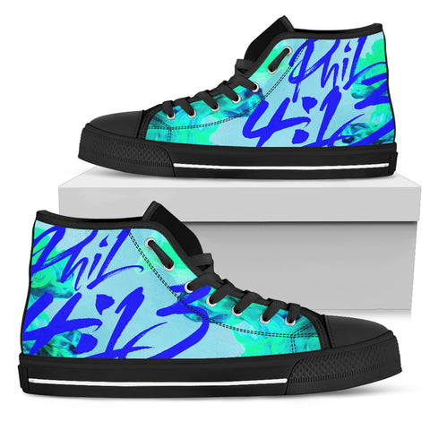 Men's High Top - Philippians 4:13 Cool Blue
