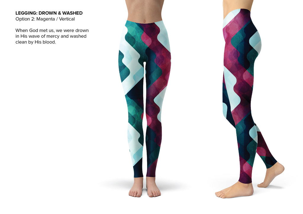All Over Capri Tight Pants - Drown and Washed (Magenta)
