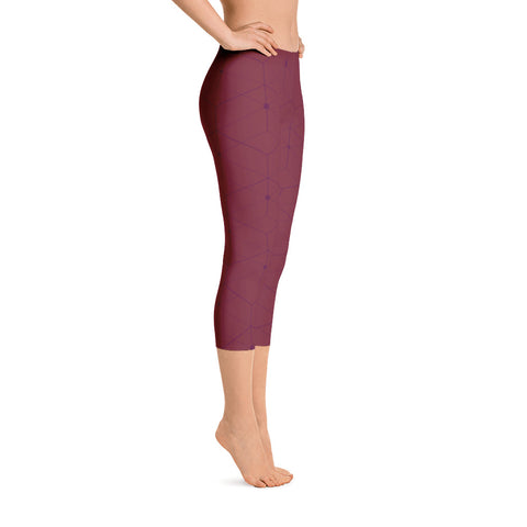 Master Plan - Wine Red - All Over Capri Leggings