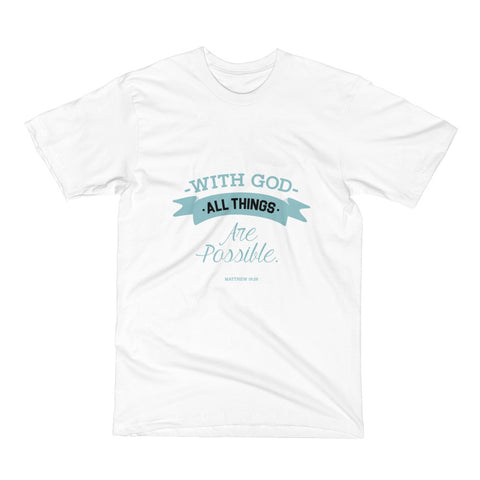 Men's Short Sleeve T-Shirt - Matthew 19:26 With God, all things are possible