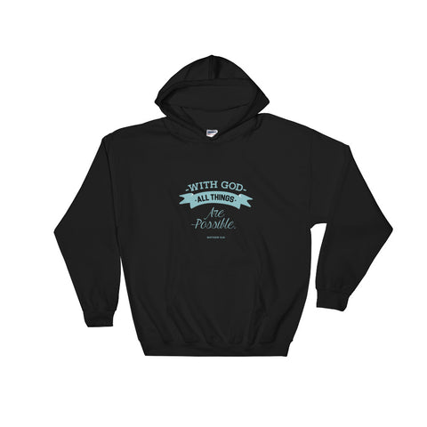 Men's Pullover Hoodies - Matthew 19:26 With God, all things are possible