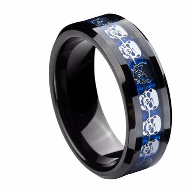 Tungsten Black Carbide Silver Blue Skull Ring
