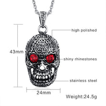 Skull Pendant Red Eyes Necklace