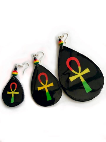 Wooden Ankh Earrings Rasta Ankh Teardrop Earrings