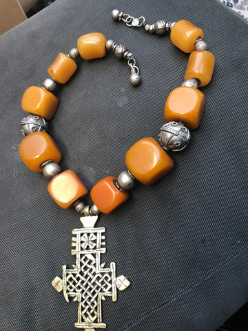 Genuine Ethiopian copal amber necklace