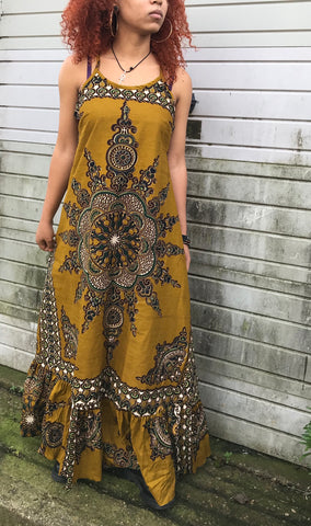 Tie back African print dress size S/M ochre/brown print