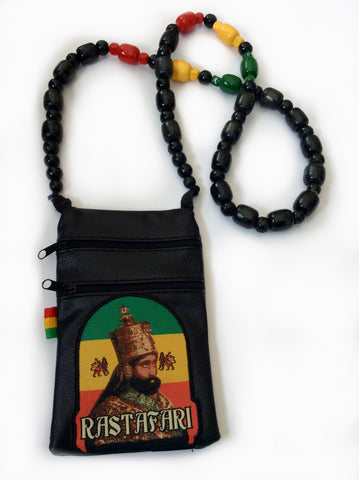 Rastafari Haile Selassie beaded pouch bag