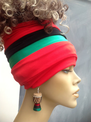 Red Pan African Open Top Headban