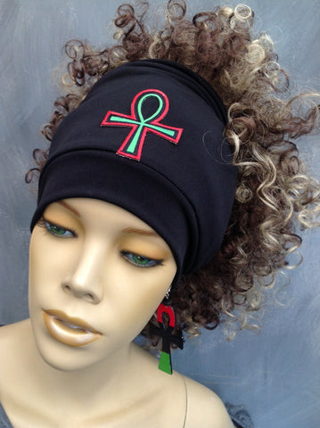 Black Open Top Headband With Pan African Ankh