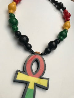 Large Rastafari Ankh necklace wooden ankh necklace rasta necklace