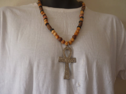 "Small size 3"" brass ankh on wooden bead necklace"