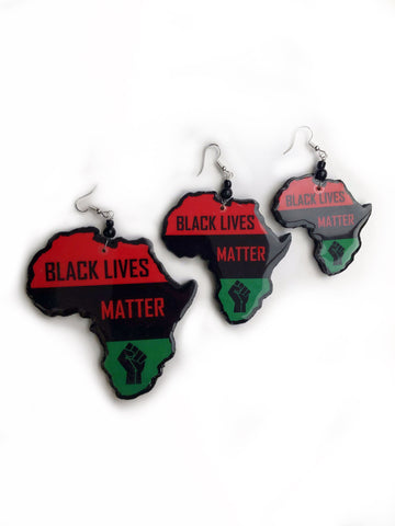 Black lives matter earrings #blm jewellery wooden earrings Africa map earrings