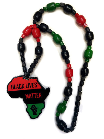 Black lives matter necklace Africa map wooden necklace Jah bless