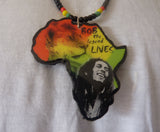 Handmade Bob Marley Africa map necklace