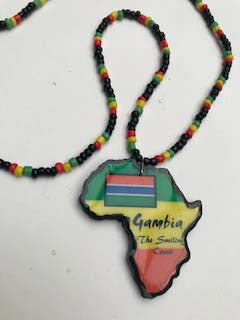 Small Gambia map necklace on rasta love beads
