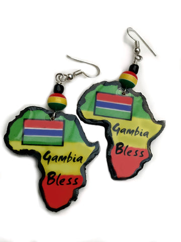 Handmade Gambia earrings small wooden Africa map earrings