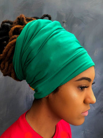 Green dreadband locsoc locshugger rasta lady headwrap