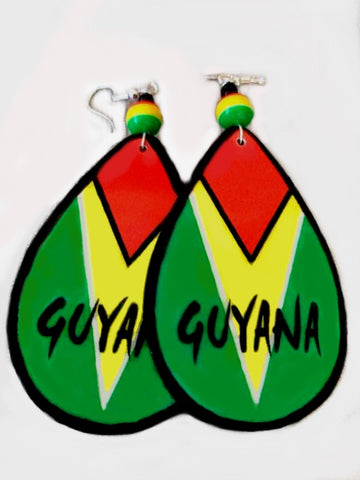 Guyana teardrops earrings handmade flag about 2 inches