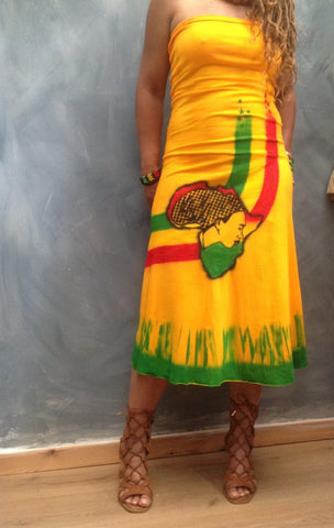 Mama Afrika Rasta dress yellow Rasta dress handmade Rasta dress