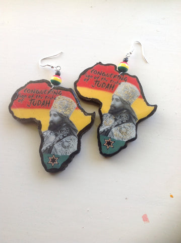 Selassie Africa map earrings wooden Africa map earrings