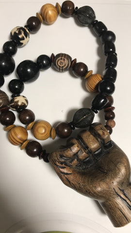 Large wooden fist necklace wooden beads