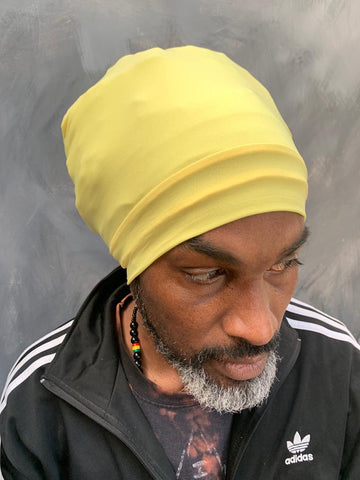 Yellow Rasta turban headwrap bobo nyabinghi headwrap black turban