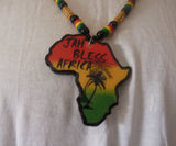 Africa map wooden necklace Jah bless