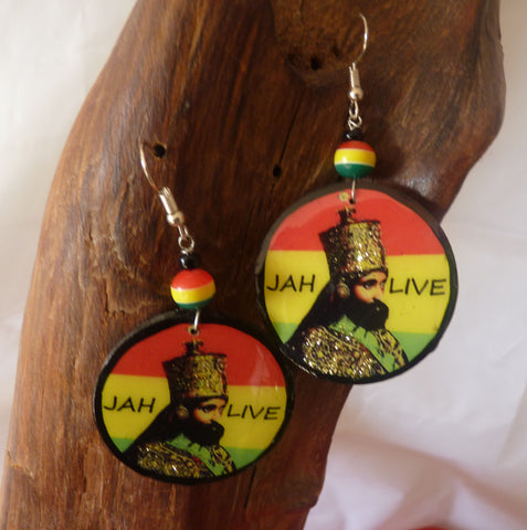 Haile Selassie wooden round earrings handmade Rasta earrings
