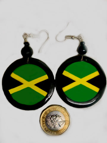Jamaica flag wooden earrings circle