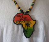 One Love Africa Map necklace on rasta beads