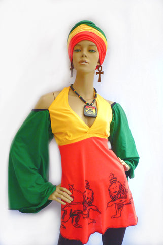 Rasta top halterneck top lion of Judah