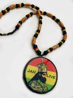 Round Ethiopian necklace Jah live Haile Selassie rasta necklace