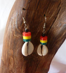 Cowrie Shell Earrings with rasta colours