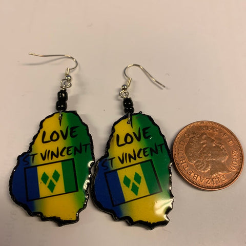 St Vincent map flag earrings