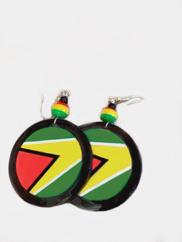 Guyana flag circle earrings