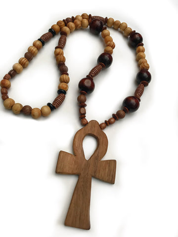 "Medium size 5"" wooden ankh on wooden bead necklace"