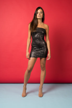 Tainted Poison - Metallic Snake Print bandeau dress