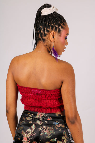 Add-To-Bag Potential: Considerable 'Ruched Crop Bandeau Top With Scorpion Embroidery'