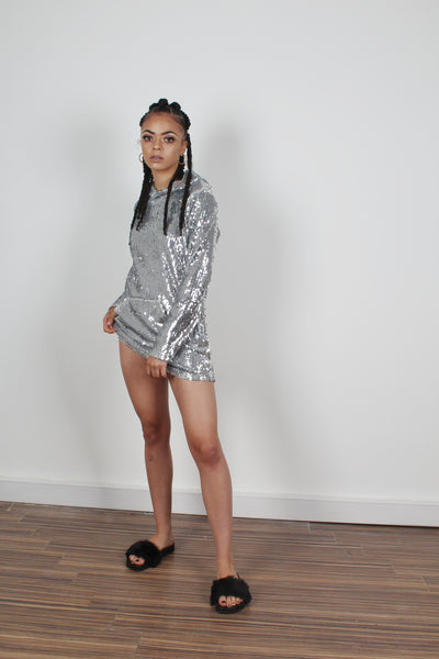 Oversized Embellished All Over Sequin Hoodie