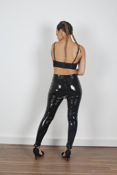 High Waisted Black Lace Up Vinyl Trousers