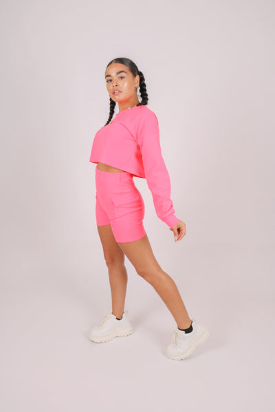 Purchase As A Set 'Neon Pink Crop Top & Cargo Shorts'