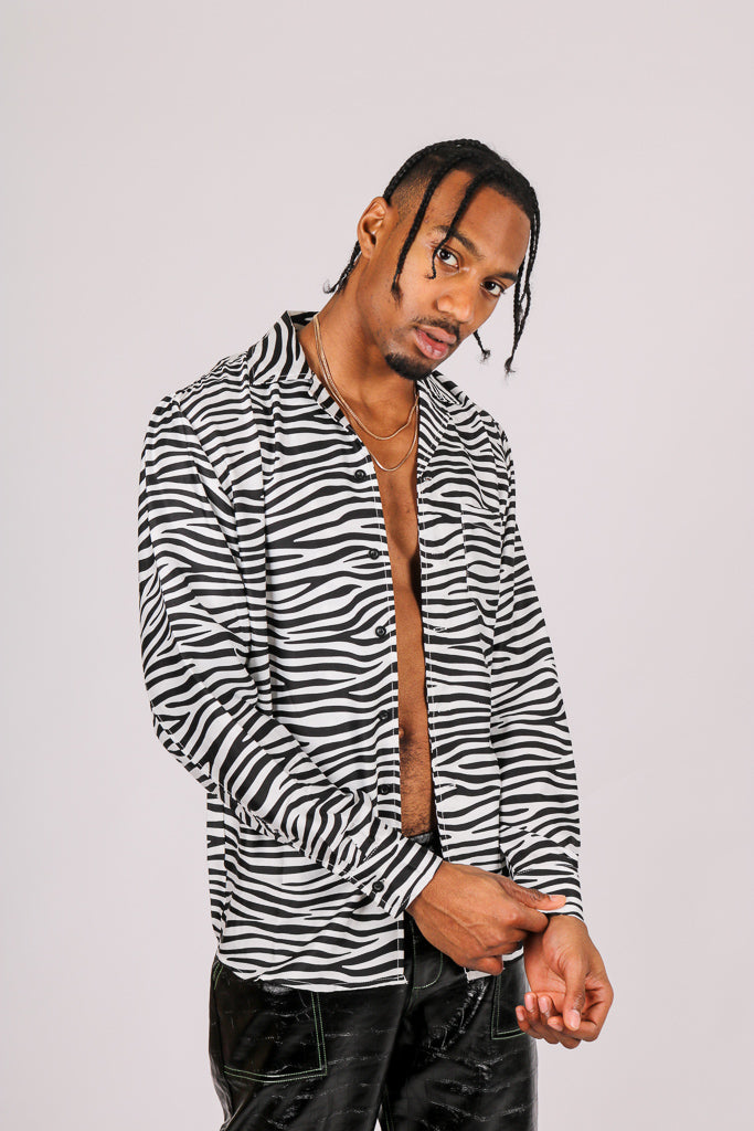 It's Already Got Your Attention 'Long Sleeve Party Shirt In Zebra'