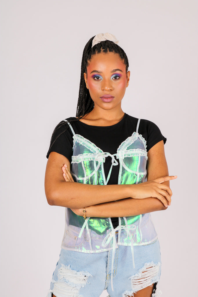 The Thing You Didn't Know You Wanted 'Luxe Iridescent Organza Tie Front Cami Top'