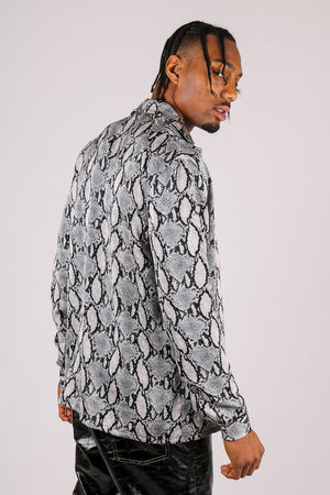 It's Already Got Your Attention 'Long Sleeve Party Shirt In Grey Croc'