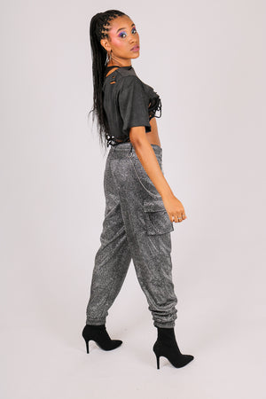 Be Sa$$ With All That A$$ - 'Silver Glitter Cargo Trousers With Diamante'