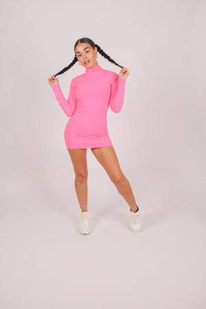 Add-To-Bag Potential: Considerable 'Neon Pink High Neck Bodycon Ribbed Dress'