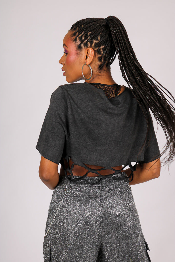 Current Mood 'Shredded Crop Top In Vintage Wash'