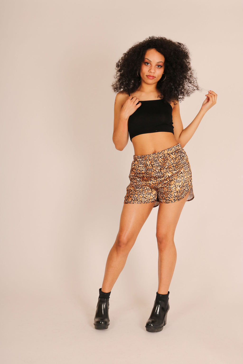 Tick These Off Your Festival Checklist 'Racer Shorts With Tie Front In Tiger Co-Ord'