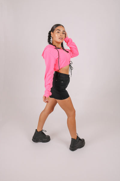 Throw On And Go 'Neon Pink Cropped Hoodie'