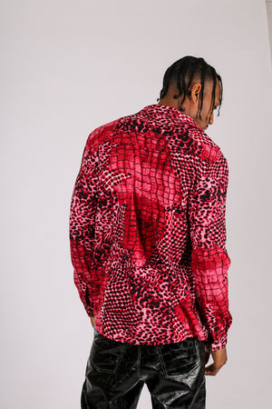 It's Already Got Your Attention 'Long Sleeve Party Shirt In Red Leopard'